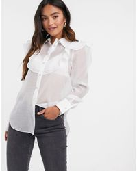 River Island Mesh Frill Front Shirt - White