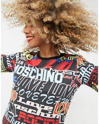 Love Moschino - Черная Футболка С Разноцветными Логотипами -черный - Lyst