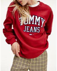 Tommy Hilfiger Бордовый Свитшот С Круглым Вырезом И Логотипом В Университетском Стиле -красный