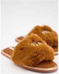 River Island Faux Fur Logo Slider Slippers - Brown