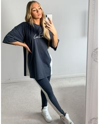 The Couture Club Panelled Logo Oversized Co-ord T-shirt-grey