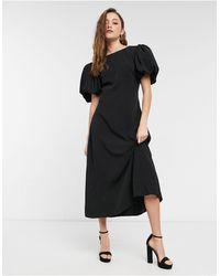 NA-KD Vestito midi nero aperto sulla schiena con maniche a sbuffo
