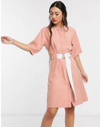 Native Youth Платье Свободного Кроя С Контрастным Поясом -розовый