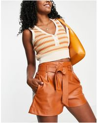 Pimkie Faux Leather Belted Paperbag Shorts - Brown