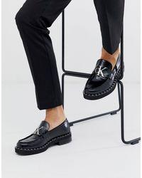 Calvin Klein Черные Лоферы На Массивной Подошве С Логотипом -черный