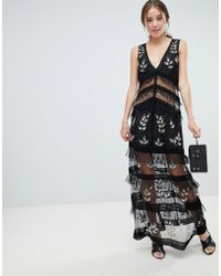 Miss Selfridge - Tiered Maxi Dress With Lace Detail In Black - Lyst