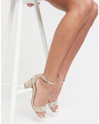 ALDO Mid Block Heel Sandals - Metallic