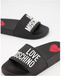 Love Moschino Черные Шлепанцы С Надписью -черный Цвет