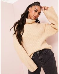 ASOS Fluffy Roll Neck Longline Sweater - Natural