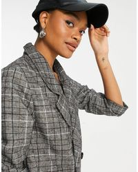 Native Youth Plaid Double Breasted Blazer - Grey