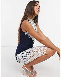 Girl In Mind Crochet Lace Midi Dress In Navy - Blue