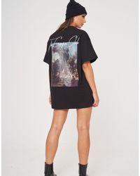 The Couture Club Vestido camisero extragrande con estampado gráfico - Negro