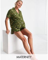 Chelsea Peers Maternity - pigiama kaki con stampa di cactus laminata - Verde