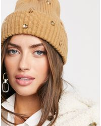 Vero Moda Ribbed Beanie With Crystal Detail - Brown