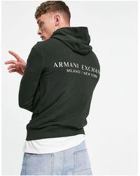 Armani Exchange Черный Худи Без Застежки С Логотипом-надписью И Принтом На Спине -черный Цвет