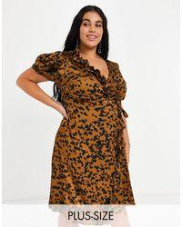 NaaNaa Plus Wrap Satin Midi Dress - Brown