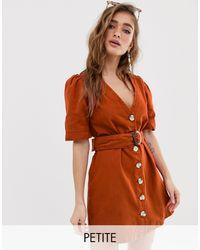 Boohoo Vestito estivo con bottoni ruggine - Arancione