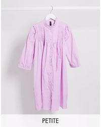 Y.A.S Petite Button Through Smock Dress With Pleat Detail - Pink