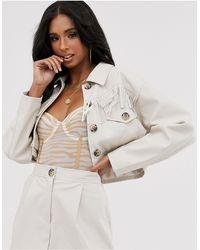 ASOS Western Fringe Cropped Leather Look Suit Blazer - Multicolor