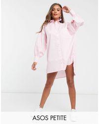 ASOS Бледно-розовое Платье-рубашка Из Хлопкового Поплина - Розовый