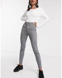 Bershka Gingham Skinny Pant - Gray