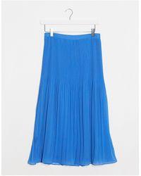 Oasis Micro Pleated Midi Skirt - Blue