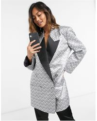 ASOS Zig Zag Metallic Jacquard Dad Blazer Dress With Contrast Lapel