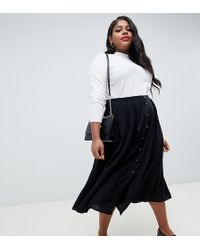 4c12491c37 ASOS - Asos Design Curve Button Front Floaty Midi Skirt With Box Pleats -  Lyst