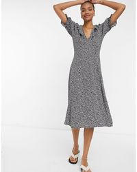 Y.A.S . Frill Detail Midi Tea Dress - Multicolor
