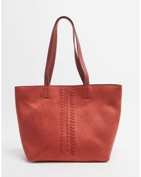 Oasis Stitch Detail Shopper - Red