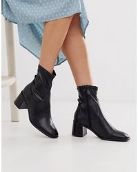 E8 By Miista Azra Leather Mid Heeled Sock Boot - Black