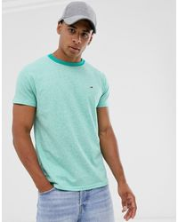 Tommy Hilfiger T-shirt Met Contrasterende Hals - Groen