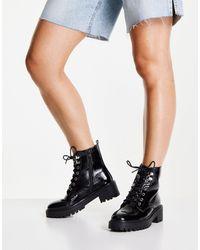 New Look Лакированные Массивные Ботинки На Шнурках Черного Цвета -черный Цвет