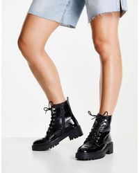 New Look Chunky Lace Up Patent Boot - Black