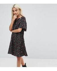 Yumi' Vestito con dettaglio a mantella e stampa a fiori piccoli - Nero