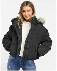 Pull&Bear Padded Jacket With Faux Fur Hood - Black