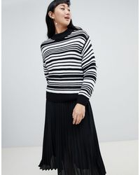 Monki Textured Crew Neck Stripe Sweater - Black