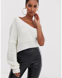 Lioness I'm Busy One Shoulder Knit - White
