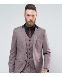 Heart & Dagger - Skinny Suit Jacket In Tweed With Velvet Trim - Lyst