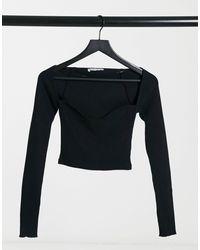 Pull&Bear Structured Rib Detail Top - Black
