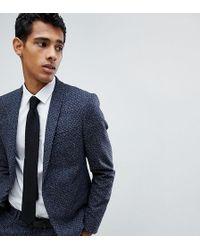Noak Skinny Suit Jacket In Polka Dot Fleck - Blue