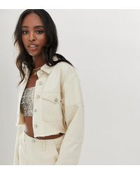 Missguided Co-ord Denim Cropped Jacket In Ecru - Natural
