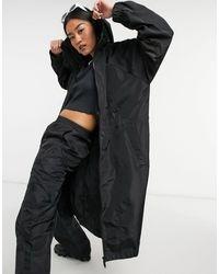 Noisy May Midi Rain Coat With Hood - Black