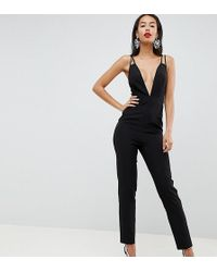 ASOS - Asos Design Tall Jumpsuit With Plunge Neck And Peg Leg - Lyst