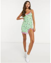 Motel Mini Cami Dress With Lace Trim - Green