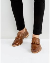 ASOS | Loafers In Tan Leather With Natural Sole And Fringe Detail | Lyst