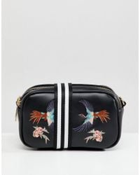 Liquorish - Bird Embroidered Camera Bag With Webbing Strap - Lyst