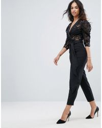 ASOS - Tux Jumpsuit In Lace With Satin Trims - Lyst