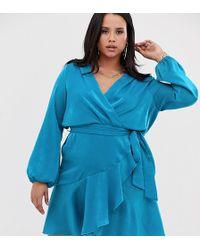 Flounce London Satin Mini Wrap Dress In Aqua Blue