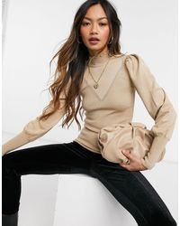 River Island Frill Neck Sweater - Brown